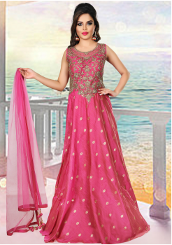 Designer Strawberry Pink Color Party Wear Gown